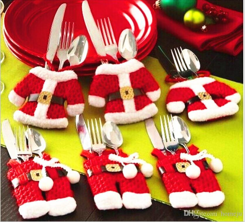 christmas table table decoration christmas cutlery set cute little clothes small pants style knife and fork set christmas ornaments house christmas