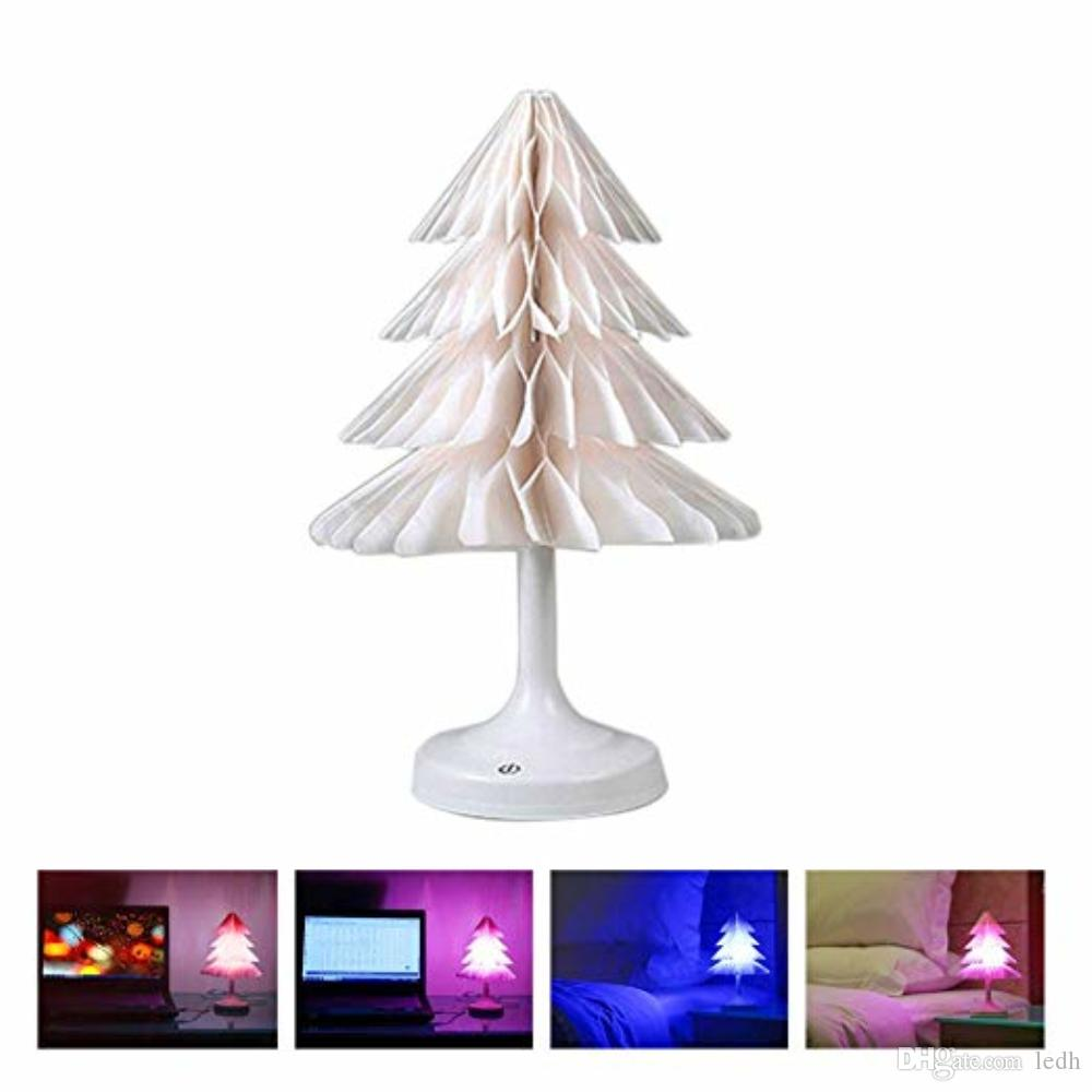 2018 christmas tree night light touch control usb charging battery powered folding xmas tree led paper lamp decoration great gift from ledh - Battery Operated Christmas Tree
