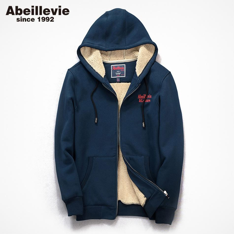 5ad7da19d974 Abeillevie Cotton Men s Full Zipper Hoodies Jacket Heavyweight Winter  Thicken Men s Sweatshirts Casual Winter Tracksuit ABD9002 Men Cloth New  Online with ...