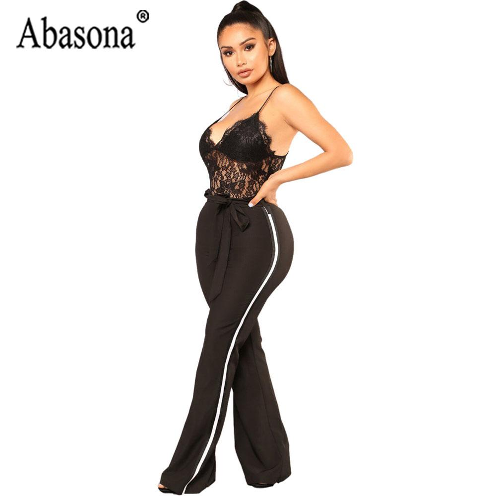 a02426aff18d6 Abasona Lace Jumpsuit Womens Spaghetti Strap Jumpsuits Sexy Backless  Sleeveless Club Jumpsuit Black Wine Red Wide Leg Romper