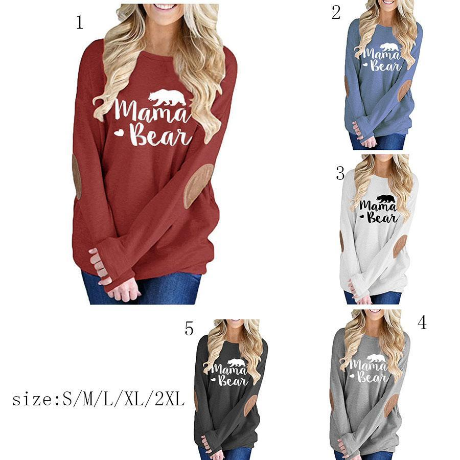 8178f2fed54 Mama Bear Graphic T Shirts Autumn Patched Monogram Pullovers Moms Women Tees  2018 Fashion Mama Tops MMA858 Cool Funny Shirts One Day Shirts From ...