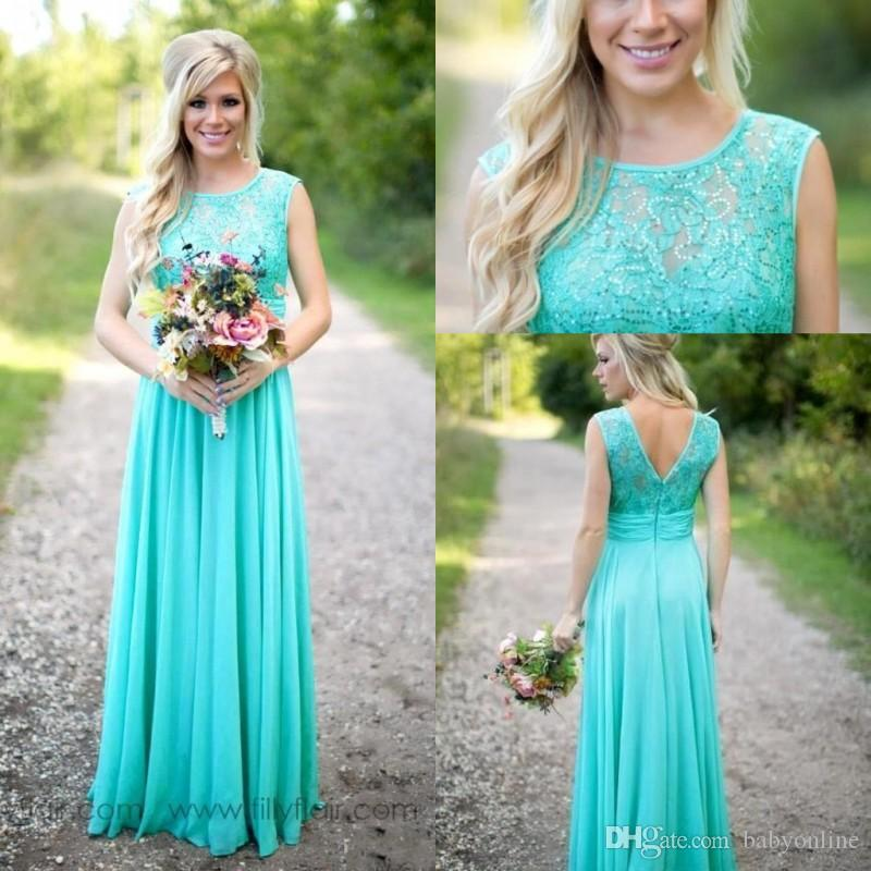 High Quality Turquoise Bridesmaid Dresses A Line Sheer Jewel Neck ...