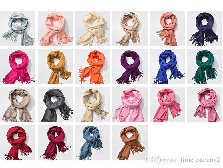28 개 스타일 순수한 컬러 캐시미어 스카프 봄 가을 남자와 여자 파시미나 200 * 60cm 클래식 캐시미어 목도리