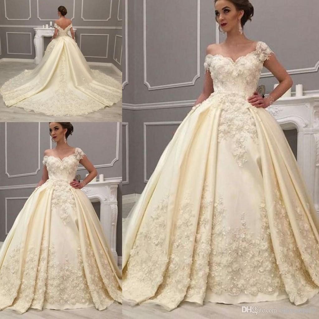 eca9e20631 2018 Arabic Luxury Off Shoulder Ball Gown Wedding Dresses Beaded 3D Flowers  Lace Appliques Low Back Ruched Court Train Satin Bridal Gowns