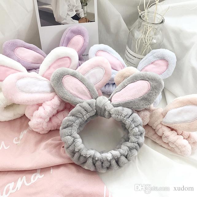 Wholesale Cute Rabbit Ears Wash Makeup Headband Shower Headband Ornaments  Elastic Hair Band Hair Accessories Hairpin Hot Sale Elastic Hair Band  Rabbit Ears ... c77c3df17ae