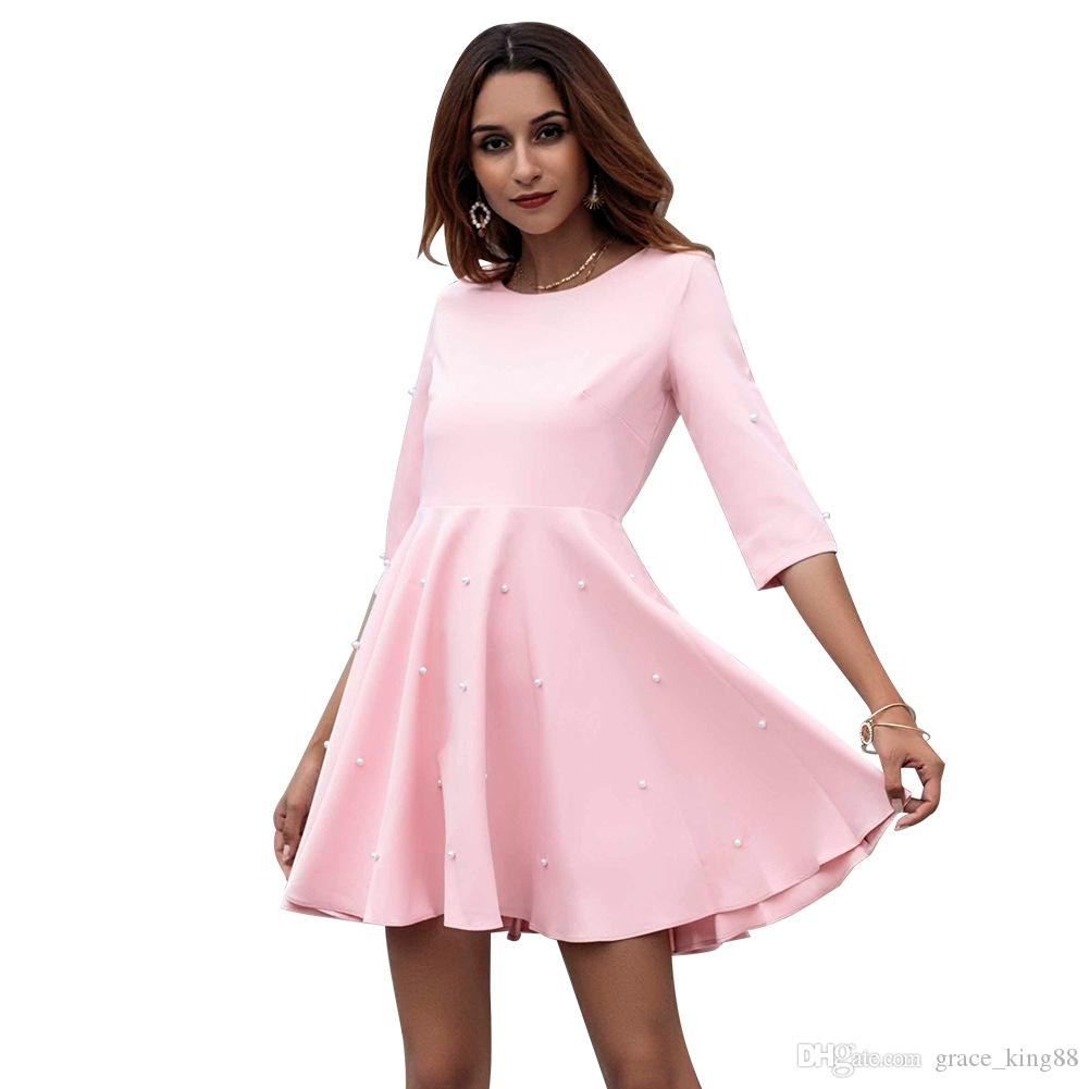 outlet store 0772d 171dc Primavera autunno nuovo stile abiti da donna moda aderente cocktail dress  con scollo a V 1/2 abito rosa elegante A-Line pendolare vestito