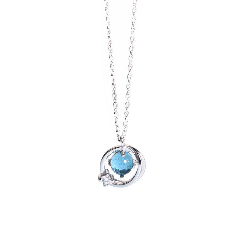 d23c31871 Autumn And Winter New 925 Sterling Silver Blue Crystal Necklace Fashion  Sweater Necklace Necklace Sterling Silver Necklace Crystal Necklace Online  with ...