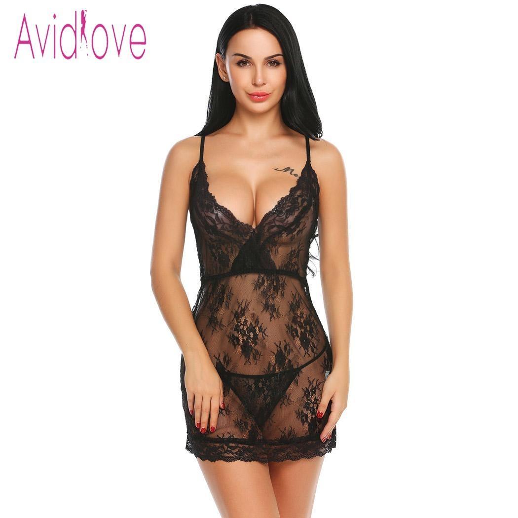 Acheter Avidlove Femmes Lingerie Sexy Érotique Robe Chaude Babydoll  Paghetti Strap Sheer Floral Lace Porn Sex Nuit Vêtements De Nuit Sous  Vêtements ... a6c0c17a5fe