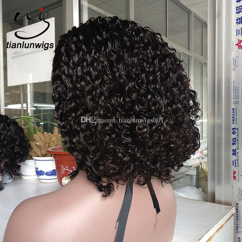 150% density curly bob style chinese virgin hair full lace wigs natural color hair 150% density middle part lace front wig