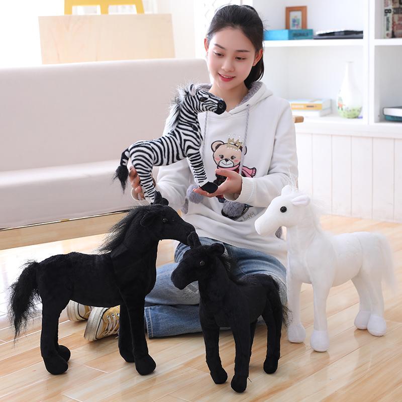 2019 Drop Shipping Simulation White Black Horse Plush Toy Stuffed