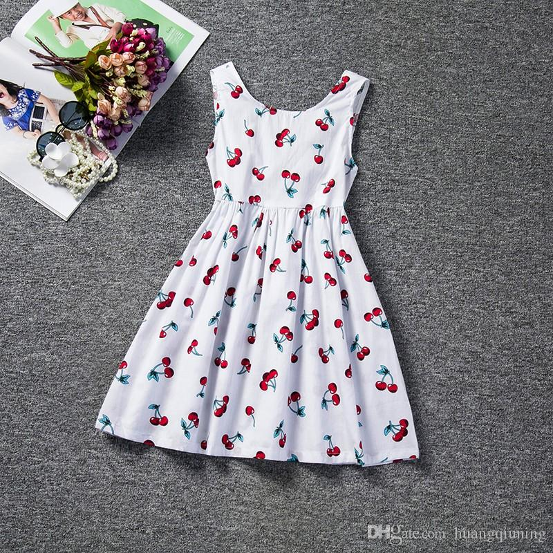6aeb1ff26 2018 Trendy Toddler Baby Girls Dress Summer Girl Clothes Floral Printed  Back V Dress Girls Kids Vest Halter Dress Infant Party Wear Casual