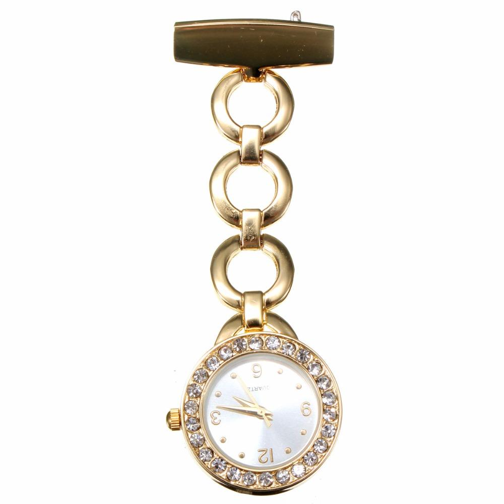 Nurse Bracelet Watch In Pocket Fob Watches Uniform Quartz Clip Doctor Steel Luxury Crystal Relogio Swiss