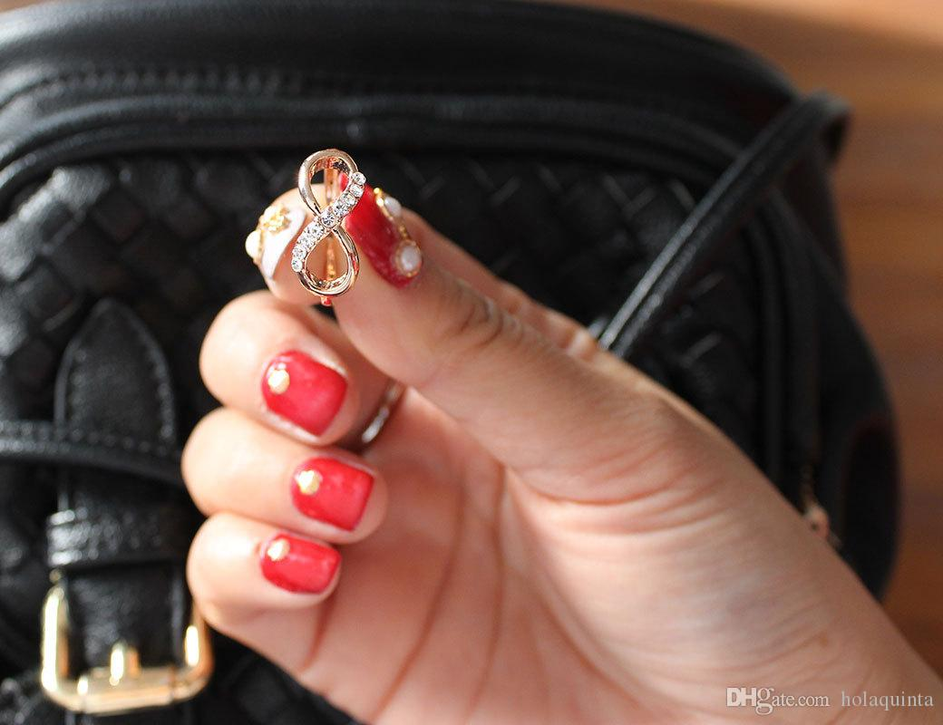 Nuevo diseño de la venta caliente de Moda de Aleación de Anillos de Cristal de Oro Rosa Anillo Infinito Joyería Declaración Al Por Mayor para las mujeres Joyería