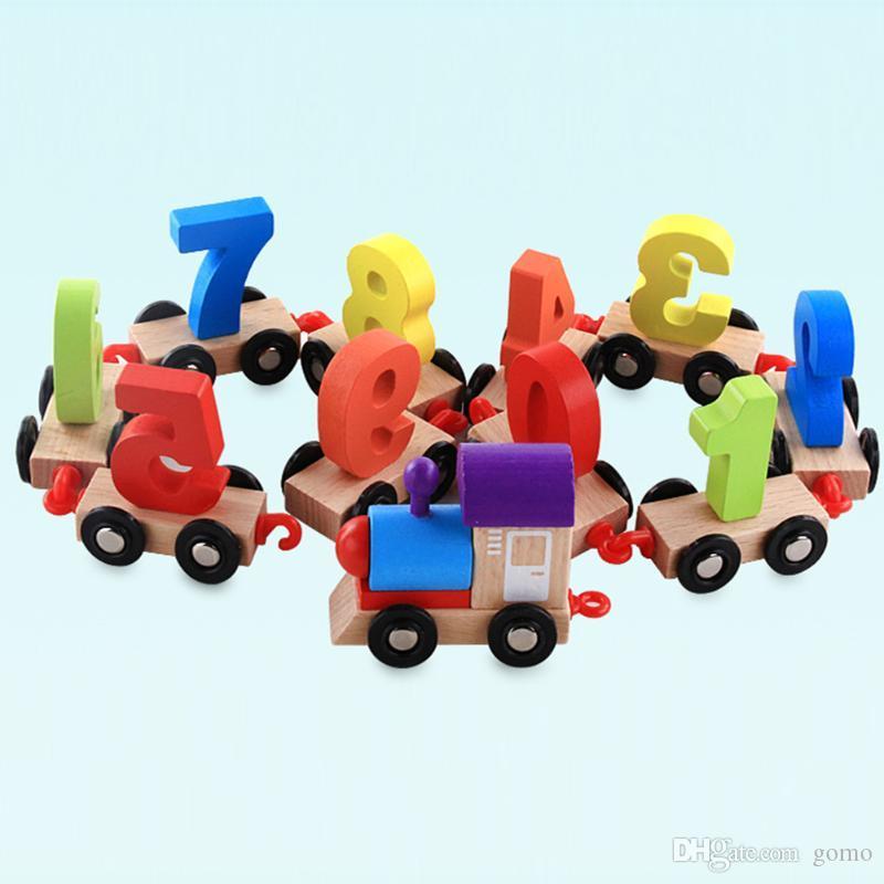 Toddlers Juguete 9 Educativo Regalo Pequeño Tren Madera Figuras Ferroviario Modelo Niños Número Digital De 0 Cumpleaños iZuwPkXOT