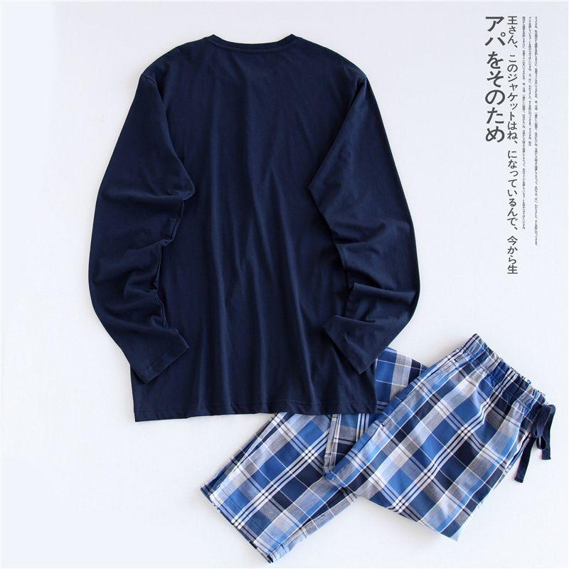 Simple pyjamas men cotton autumn pajama set top and trousers Separate sales pijamas long-sleeve sexy Korean sleepwear night suit