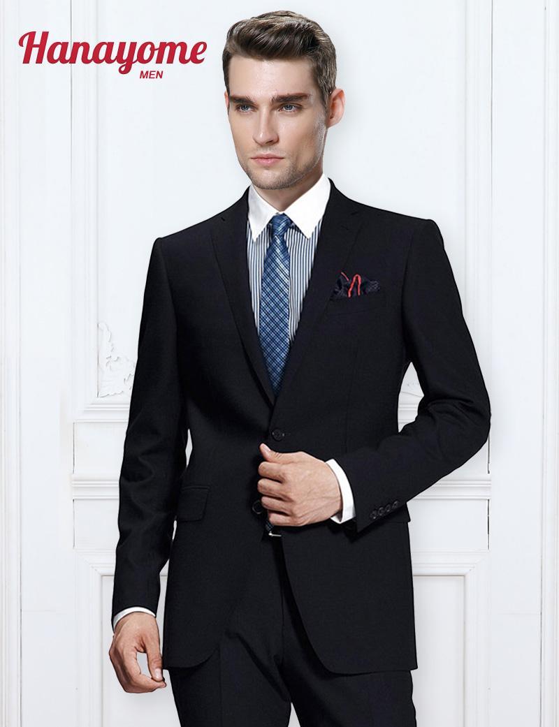 size 40 98f89 c9412 Prom Smoking Zweireiher Anzug Moderne Mens Hochzeit Anzüge Schwarz Männer  Blazer Männer 2 STÜCKE Business Party Hosen Blazer Anzüge U96