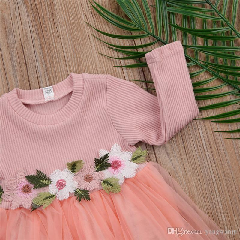 Toddler Baby Girls Dress Long Sleeve Flower Pink Gray White Dresses Autumn Round Neck Lace Princess Party Prom Tulle Dresses
