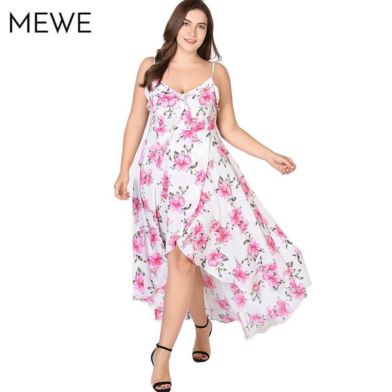 2018 Women Chiffon Floral Maxi Dress Plus Size 5xl Sexy Ruffle Boho Beach  Long Dresses Asymmetrical Summer Holiday Sundress 6xl D1891306 Summer Dress  Women ... c6275388b89c