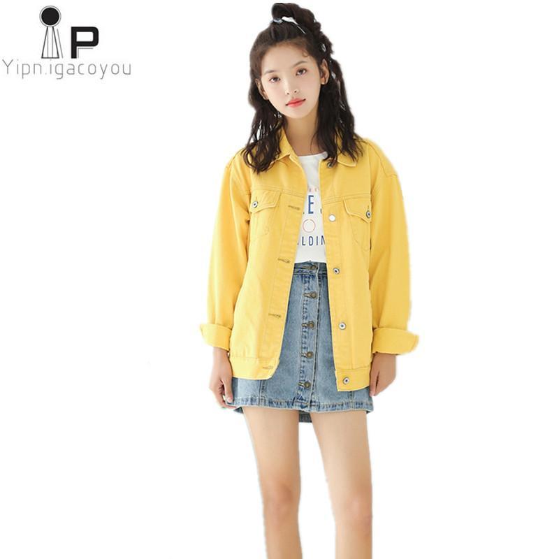 free shipping cfe0f ceebd Autunno Vintage Giacca di jeans corto donna 2018 Moda coreana Befree Slim  Jeans gialli Cappotti donna Harajuku Giacca casual femminile