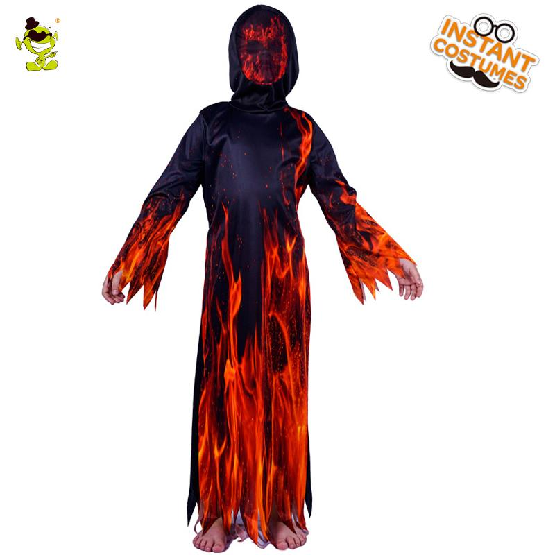 New Fire Flame Devil Costumes Boys Scary Dress Carnival