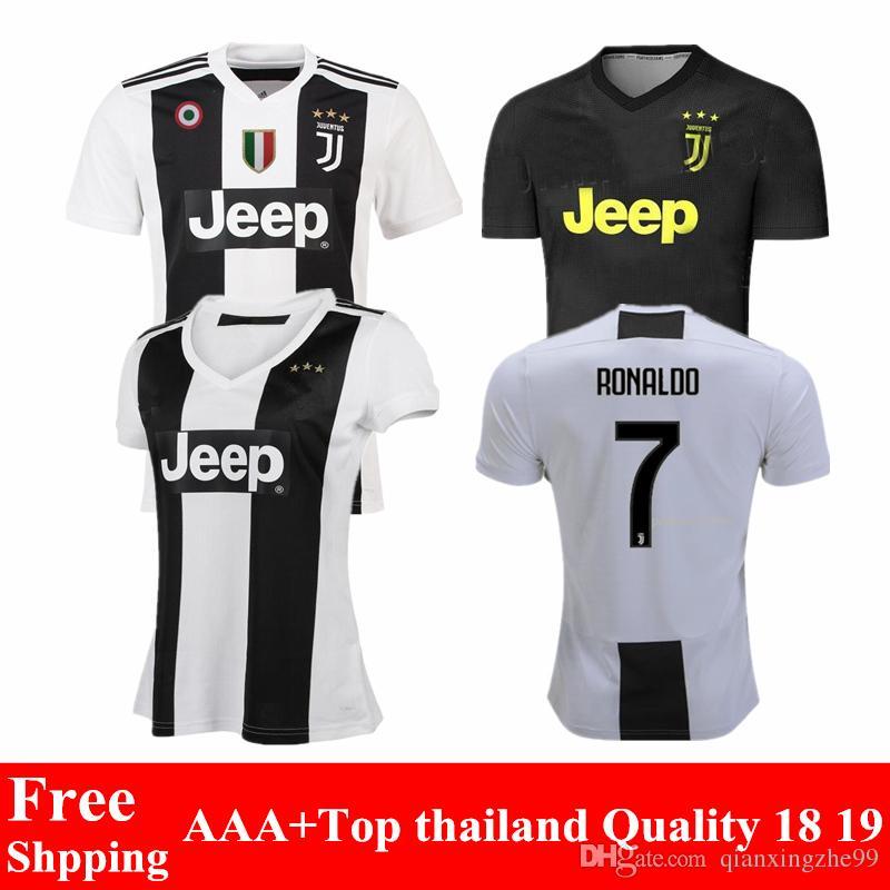 b391241ee Compre Novo 2018 2019 Juventus Jersey Ronaldo Camisa De Futebol 18 19 Home  Preto Branco Higuain Matuidi Camisas Maillot Dybala Camisas De Futebol Cr7  De ...