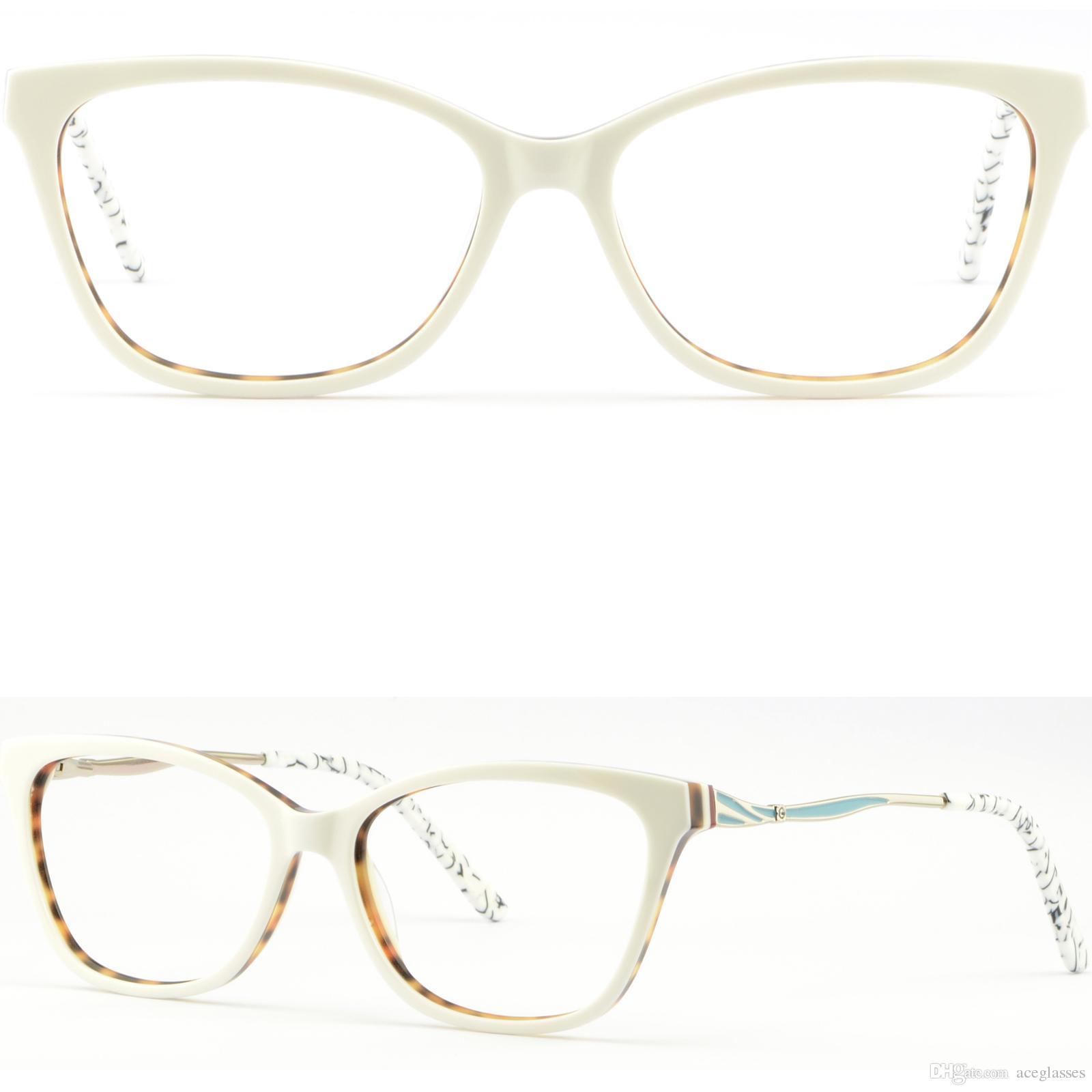 Light Rectangle Womens Girls Acetate Frames Eyeglass Glasses White Spring  Hinges