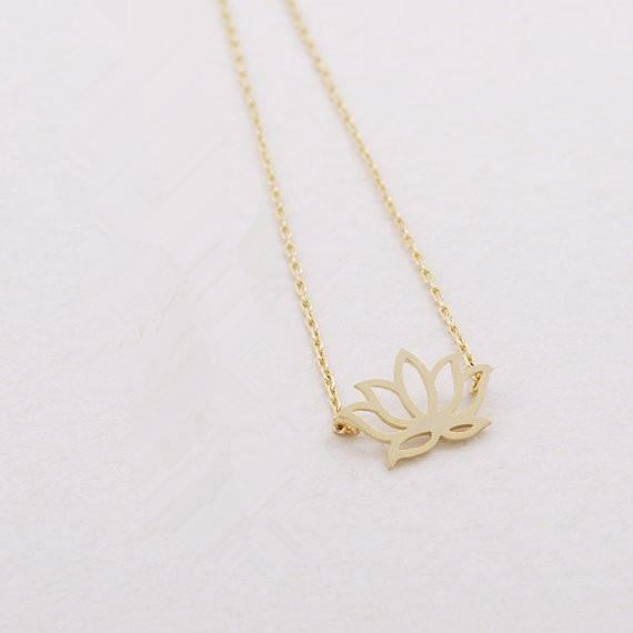 2018 Fashion plant Gold silver plated Lotus Necklace Pendant Necklace for women gift Wholesale