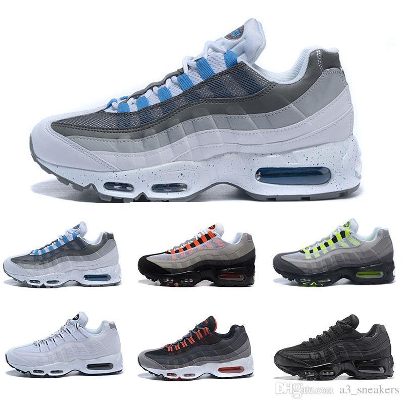 brand new d14a0 a5fcb Compre Nike Air Max 95 Envío Gratis 2018 Nuevos Zapatos Casuales Baratos  Para Hombres, Premium OG Neon Cool Gray Zapatos Tamaño 36 46 A 92.96 Del  ...