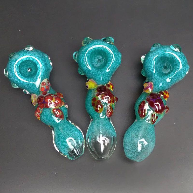 Pfeife Glaspfeifen für das Rauchen von Glas Spoon Pipe Neue Ankunft Shisha Schildkröte Blue Pipes Thick Glass