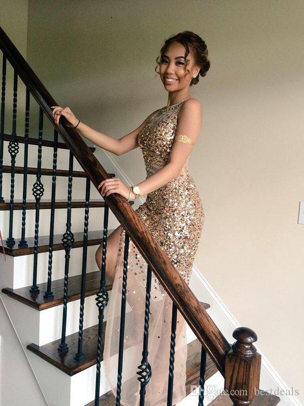Sparkly Sexy Ouro Vestidos de Baile 2018 Ver Através de Alta Dividir Beading Cristal Prom Dress Black Girls Party Gowns