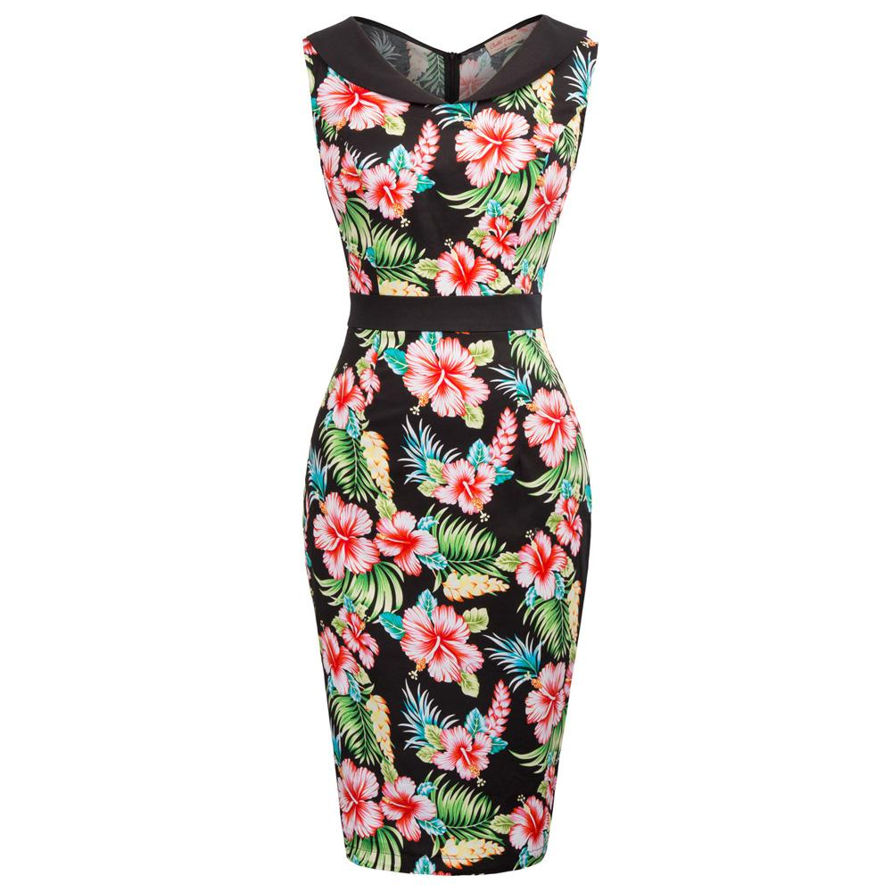 ad19b298cfd 2019 Women Pencil Dresses Vintage 50s Rockabilly Clothing 2018 Floral Summer  Casual Cocktail Party Dress Sexy Bodycon Dress Work Wear From Silan