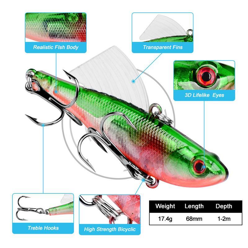 Nuevo Plástico Wobbler bass Fishing señuelo 6.8cm 17.4g Buceo poco profundo Realistic Fin Pop Señuelos Natación Profundidad 0.6-1.8m