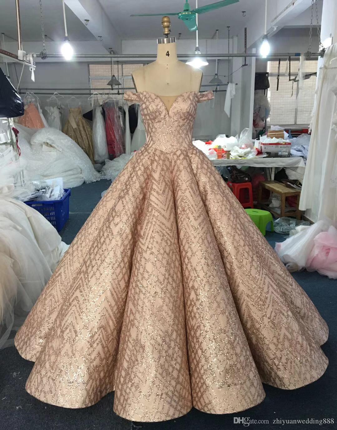 Real Picture Dubai Rose Gold Lace Ball Gown Wedding Dresses 2018 Off