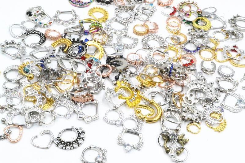 À La Mode Nouveau CZ Nez Septum Clicker Anneaux Oreille Diath Corps Piercing Bijoux En Acier Inoxydable Bar Nez Ouvert Anneau Anneau Nez Piercing 14g 16g