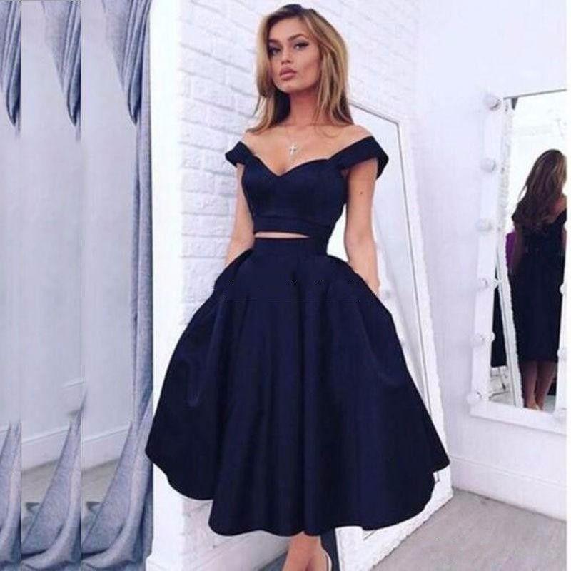 Superbe robe de bal bleue marine foncée 2 pièces longueur du thé longueur été courte occasion spéciale robe cocktail soirée robe de soirée les femmes portent