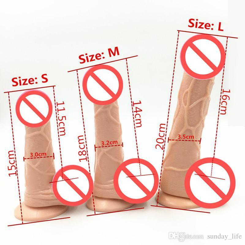 !!!3 Size Flesh Color Realistic Dildo Flexible Penis Whith Strong Suction Cup Dildos Cock Adult Sex Products Sex Toys For Women