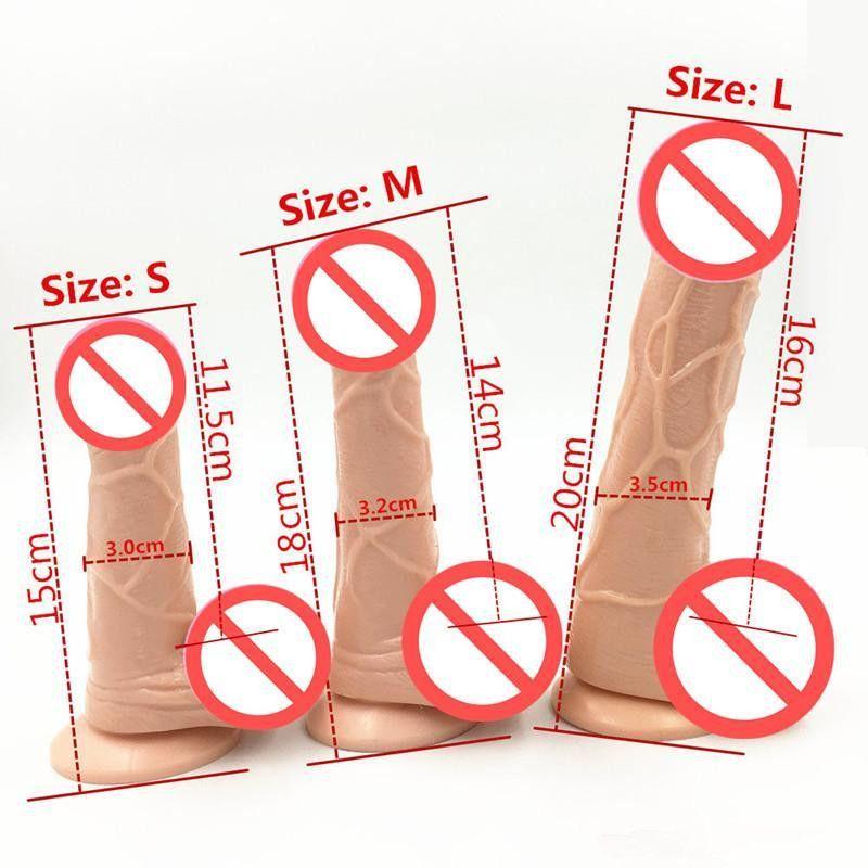 ¡Envío libre! 3 Tamaño de la carne Color realista Consolador Pene flexible con fuerte ventosa Dildos Cock Productos adultos del sexo Juguetes sexuales para mujeres