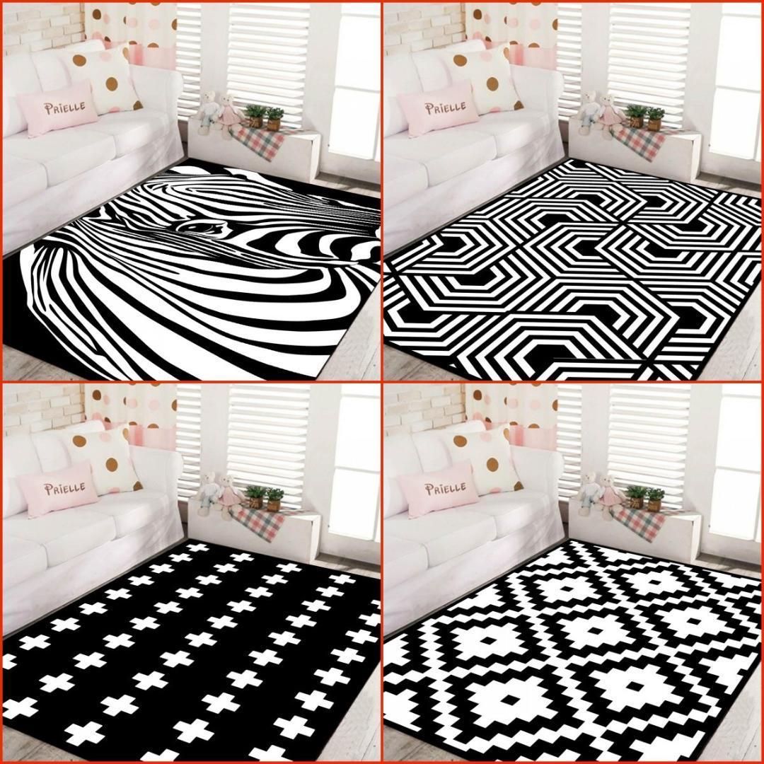 Moderne stil geometrische schwarz und weiß Nordic schlafzimmer teppich  wohnzimmer sofa tisch rechteckigen hause grau teppich tapeten CUSTOM