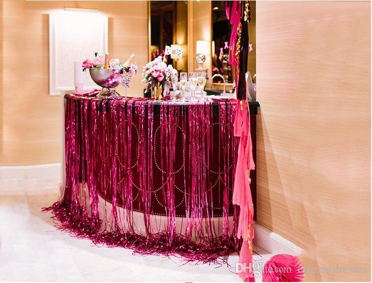 Fondo de boda de cascada láser Decoraciones de Bling Bling Telones de fondo 1m * 2m Alta borla Boda Cortina de ducha Decoración Proveedor de fiesta