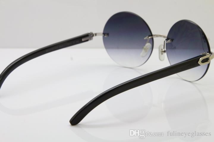 도매 하이 엔드 무테 3524012 라운드 블랙 버팔로 호른 트리밍 렌즈 선글라스 남성 여성 태양 안경 브라운 렌즈 C 장식의 골드 FRAM