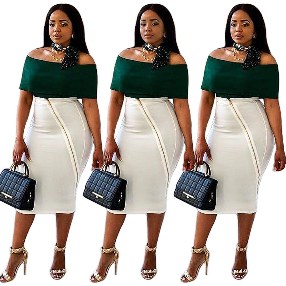8c84143aa3 Compre 2018 Moda Para Mujer Hombro Faldas De 2 Piezas Traje Con Volantes  Verdes Slash Cuello Top Cremallera Oblicua Falda Midi Blanca Vestido De Dos  Piezas ...