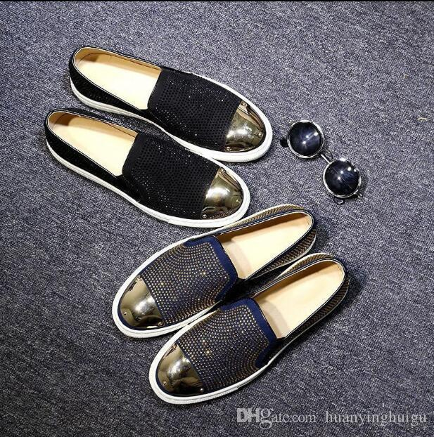 2018 Novo estilo Homens Strass Mocassins Camurça Preta de Cristal Strass Chinelos de Festa de Casamento Sapatos de Vestido de Apartamentos Flats de Couro Muitos N180