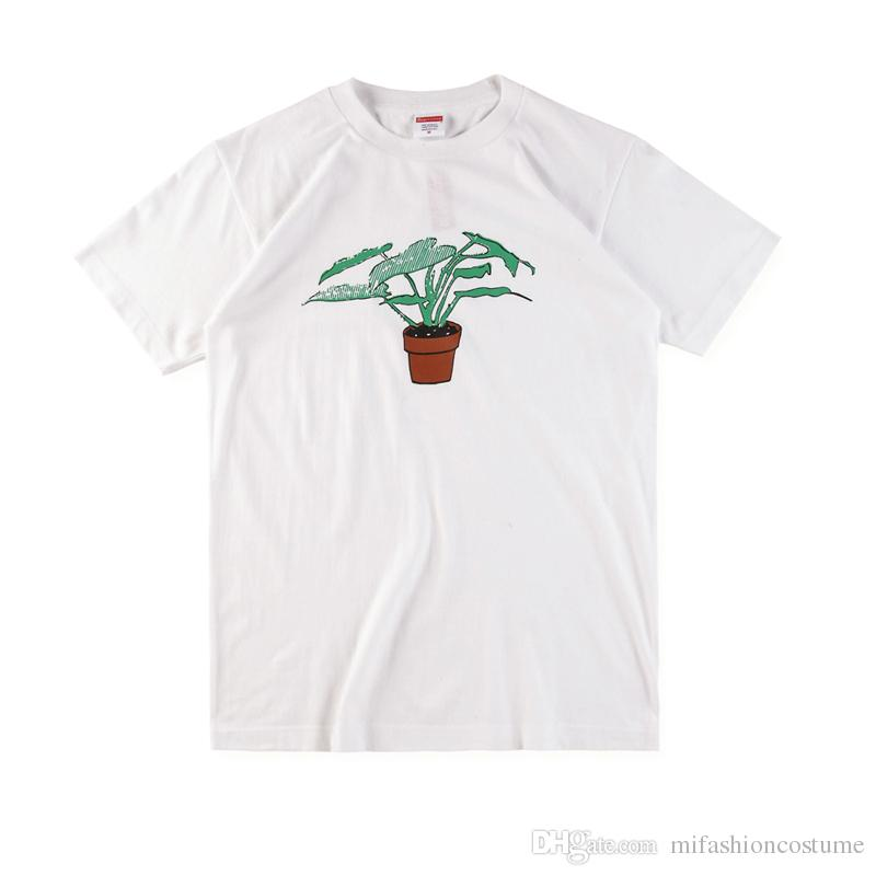 Box logo Hip Hop Potted Plant Tee Skateboard Cool T-shirt Men Women Cotton Casual TShirt