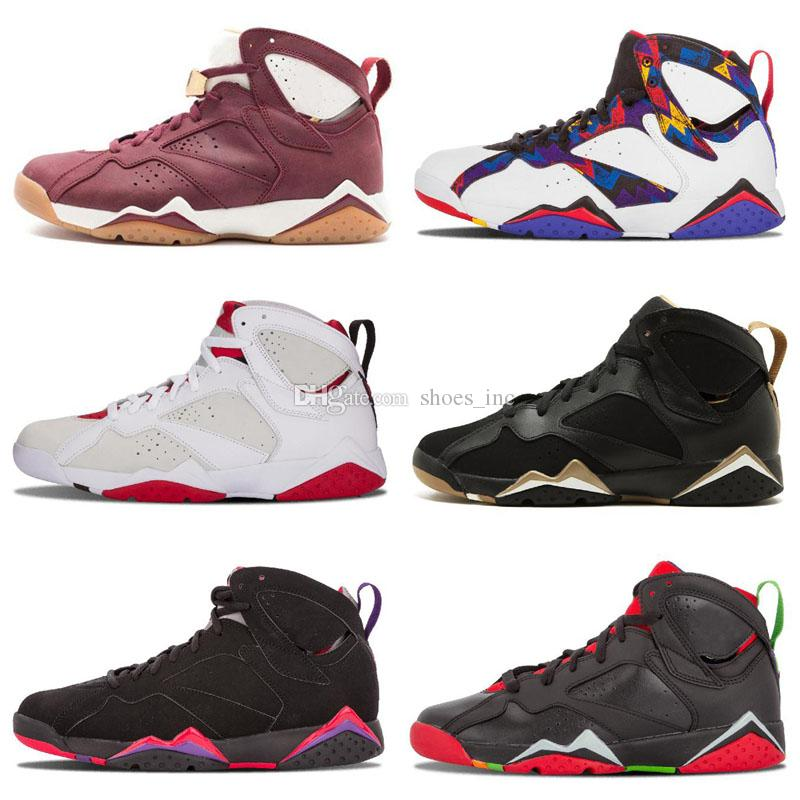 f4c40ceb1a317e 2019 Cheap 7 Retro Basketball Shoes Men Women 7s VII Purple UNC Bordeaux  Olympic Panton Pure Money Nothing Raptor N7 Zapatos Trainer Sport Shoe From  ...
