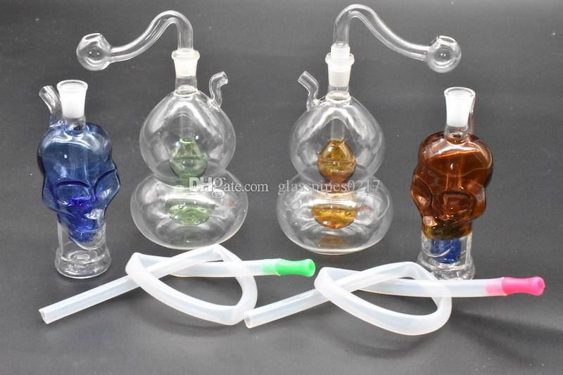 Gourd skull shape Glass Bongs with diffuser downstem perc dab oil rig glass Water Pipes 10mm joint oil burner pipe and hose