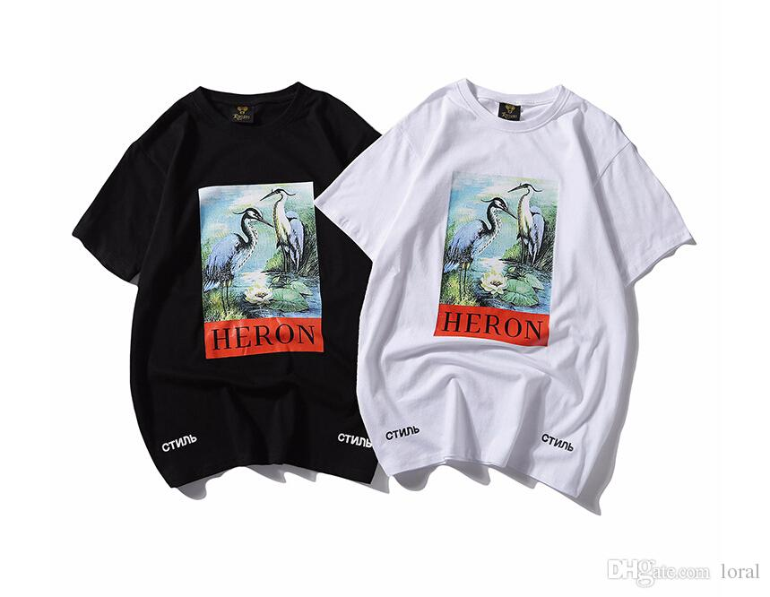 Men Women Clothing Casual Tshirts Summer Heron Preston Printed Solid Color Crew Neck Tees Male Female Short Sleeved Tops