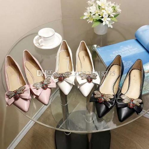 where can i buy big discount official site 2018 Brand Designer Ladies flats Shoes Pointed Toe Bowtie Metal Bee Luxury  Shoes Genuine Leather Fashion flat New Spring Footwear Shoes