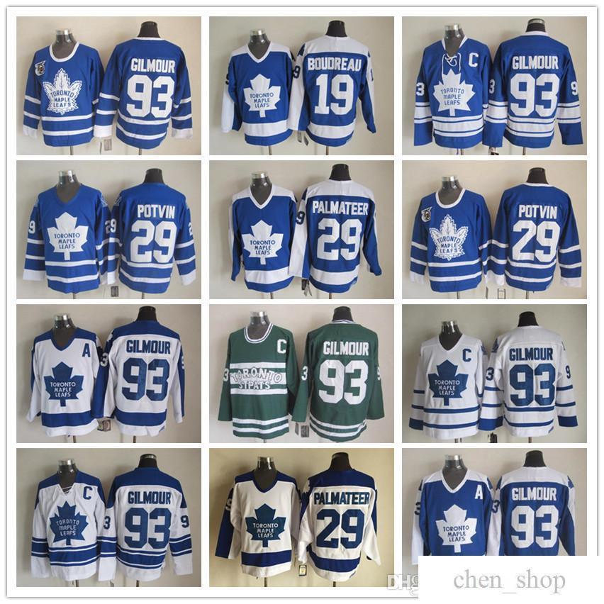 7679344ebd0 2019 Stitched Toronto Maple Leafs 93 Doug Gilmour 29 Felix Potvin 29 Mike  Palmateer 19 Bruce Boudreau Vintage White Blue Green Hockey Jerseys ICE  From ...