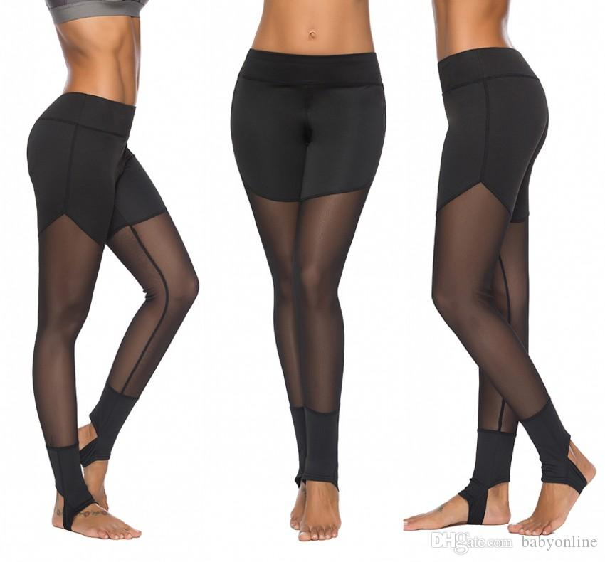 Donne sexy di trasporto libero Skinny Stretch a vita alta Leggings Pantaloni Collant Yoga sport Fitness Gym running Leggings FS5782