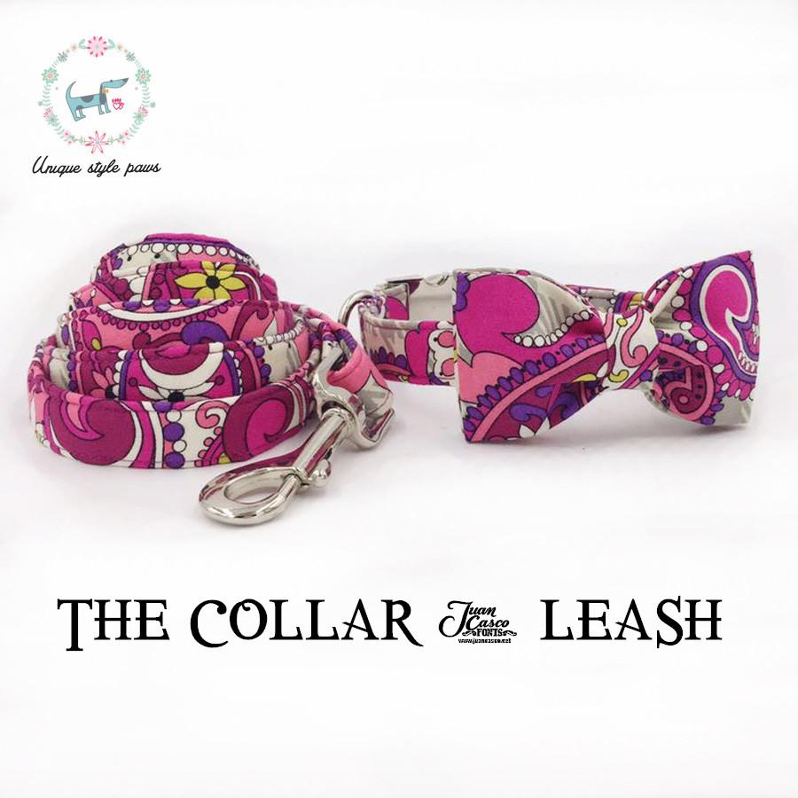 2019 The Pink Flower Dog Collar And Leash With Bow Tie Dog And Cat